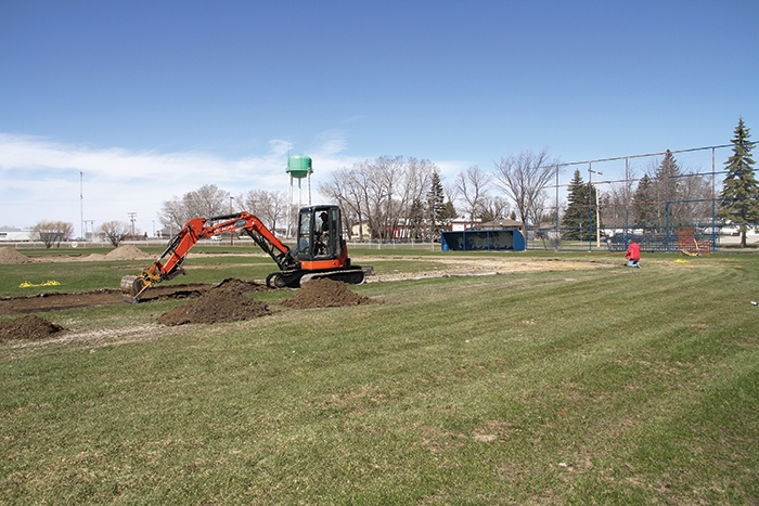 Work was being done on Borderland Co-op's Murray Newman Field last week. Shale will be installed on the diamond this spring, and the Tim Hortons Outdoor Eventplex will be developed next to the ball diamond. Meanwhile, a new parking area is being developed south of the outdoor rink. The improvements will all be ready for the rodeo/reunion weekend starting on July 6.