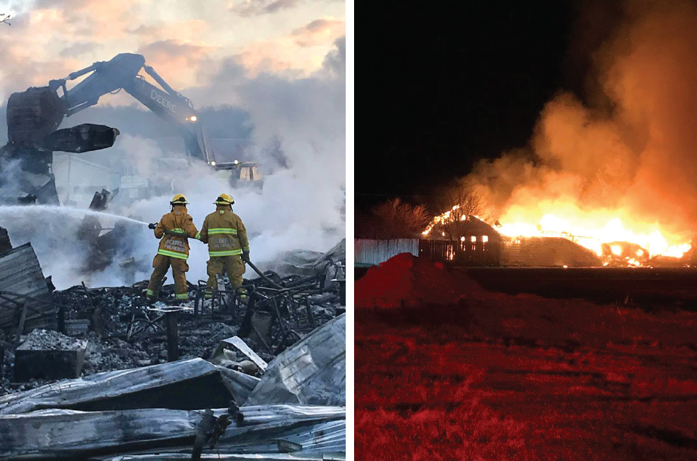 The Rocanville Fire Department battling the blaze at the Valley View Hotel, left, and a photo of the business engulfed in flames, right.