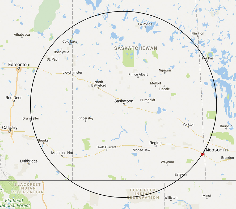 Moosomin to Saskatoon is a 49 minute flight for the Saskatchewan Air Ambulance. Saskatoon is the pediatric and stroke centre for Saskatchewan. Expansion of the Moosomin airport is expected to benefit the entire area with improved access to medical faciliities in Saskatoon. As the diagram shows, Moosomin is as far away from Saskatoon as The Pas, Manitoba, Drumheller, Alberta or the Fort Peck Reservation in Montana.