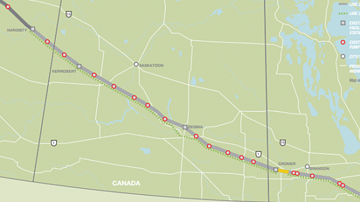 The Enbridge Line 3 route across Saskatchewan and Manitoba. A short section of Line 3 east of Cromer has been replaced already. The rest will be replaced as part of the new project.