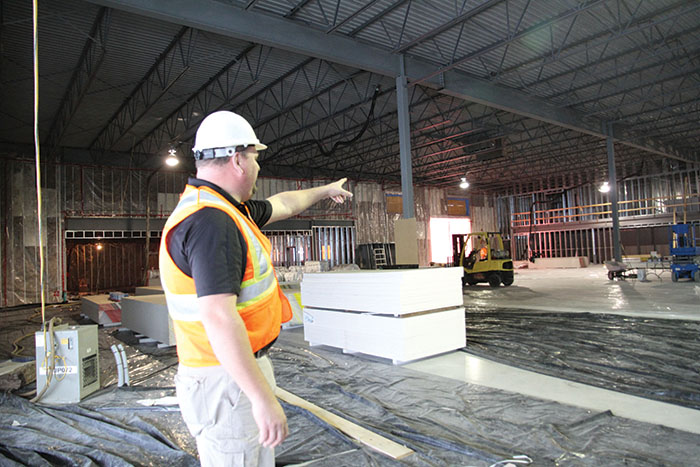 Borderland Co-op GM Jason Schenn points out some of the features in the Co-op's new 25,500-square-foot home centre under construction in Moosomin.
