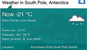 South Pole still warmer than Moosomin