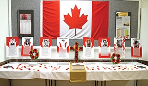 Moosomin Legion memorializing all 85 soidiers on cenotaph