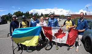 Ukrainians cycling for peace hit Moosomin today