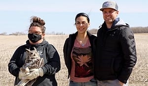 Great horned owl returned to her territory