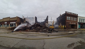 Fire destroys three buildings in downtown Virden
